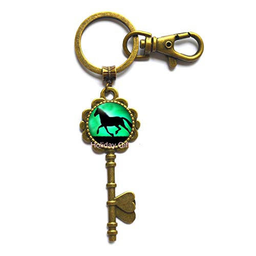 Black Horse Key Keychain Running Horse Key Ring Glass Animal Jewelry Key Keychain Key Ring.HTY-152