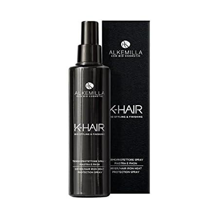 ALKEMILLA - K-Hair - Termoprotettore Spray Piastra e Phon - Protegge dai Danni del Calore da Styling - con Lino, Mandole, Ortica, Malva e Girasole - Vegan, AIAB, Nickel Tested - 100 ML