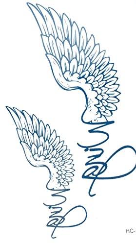 STRASS & PAILLETTES - Mini Tatouages éphémères métallique Waterproof Wing Ailes d'ange Bleu Tatoo temporaire - Bijou de Peau
