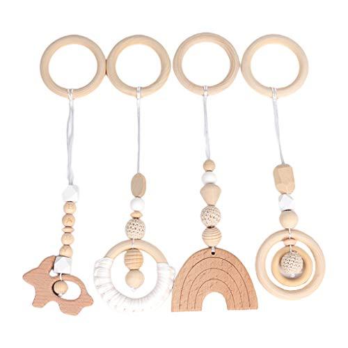 Senoow 4 unids/set Baby Play Gimnasio marco colgante colgante anillo de madera Mordedor molar
