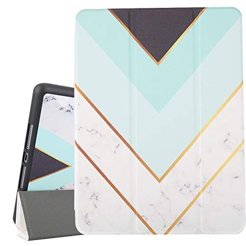 White Marble iPad 10.2 Case 2019 iPad 7th Generation Case with Pencil Holder, Mint Green Slim Stand Hard Back Shell Protective Smart Cover Shockproof Case with Auto Sleep Wake for A2197 A2198 A2200