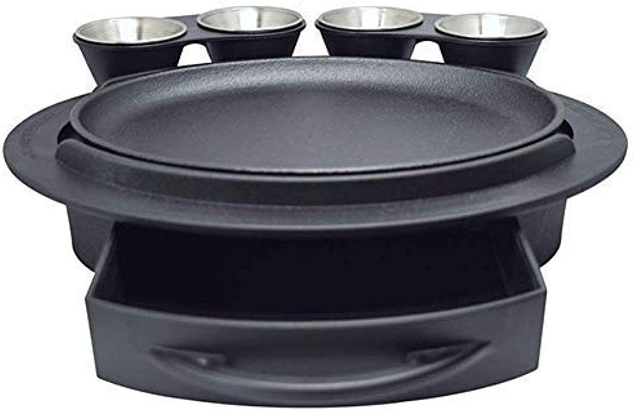 Butler Concepts The Fajita Butler Serving Set With Cast Iron Skillet And Removable Handle Heat Resistant Base Dual Sliding Tortilla Tray 2 Condiment Holders With 4 Stainless Steel Ramekins