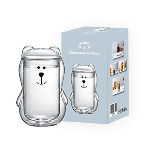 BAMINX Cuenco de cristal de doble pared para café, taza de té o café con diseño de gato en 3D, resistente al calor, doble pared (transparente)