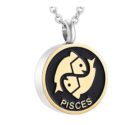 Lcgbw Collana Collana Commemorativa del Segno della Costellazione dei Pesci della Serie di Compleanno dell'Acciaio Inossidabile per La Collana del Ricordo del Braccialetto Dell'Urna delle Ceneri