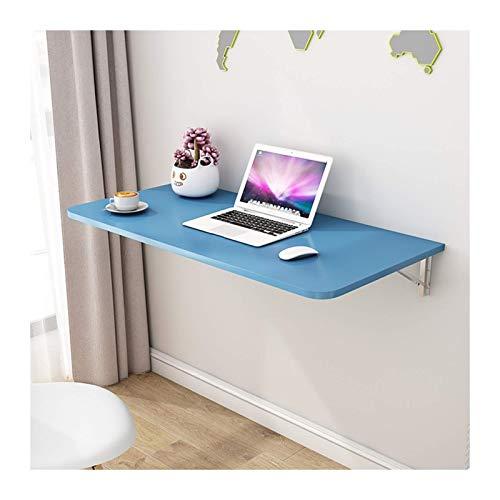 GLF Mesa plegable de pared, mesas plegables de pared invisible para ahorrar espacio, soporte simple para encimera estable, 3 colores, disponible en 18 tamaños (color: azul, tamaño: 120 cm x 50 cm)