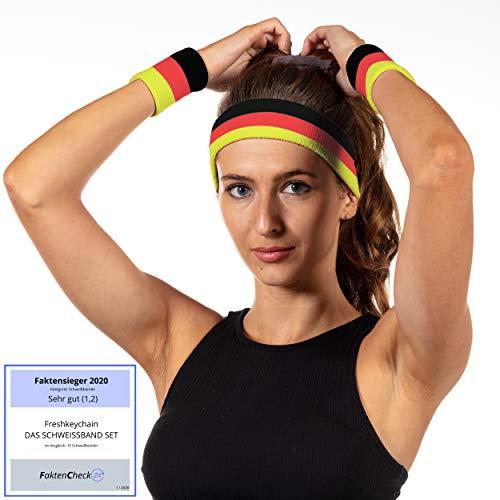 Freshkeychain Premium Schweißband Set - 3er Schweissband Set mit absorbierendem Stirnband und 2 Handgelenk Schweißbänder - buntes Sportstirnband (Deutschland, 20 * 5.5-8 * 8cm)