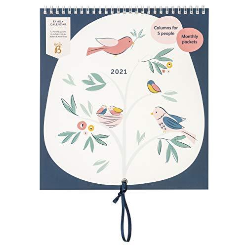 Familienkalender von Januar bis Dezember 2021 - Marineblau/Vögel, Kalender mit Monatsansicht und 6 Spalten für Familienmitglieder & Geburtstage, monatlichen Steckfächern, Stichern & Urlaubsplaner