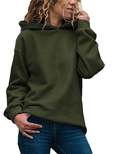 Yieune Kapuzenpullover Damen Sweatshirt Lose Casual Pullover Strickjacken Streetwear Pulli (Grün S)