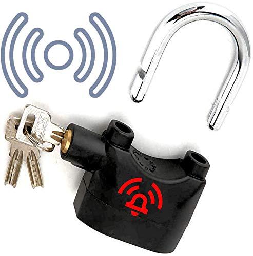 Juego de cable plastificado y candado con alarma para asegurar bicicletas, motocicletas y scooters, equipos de terraza, camping, muebles de jardín y herramientas