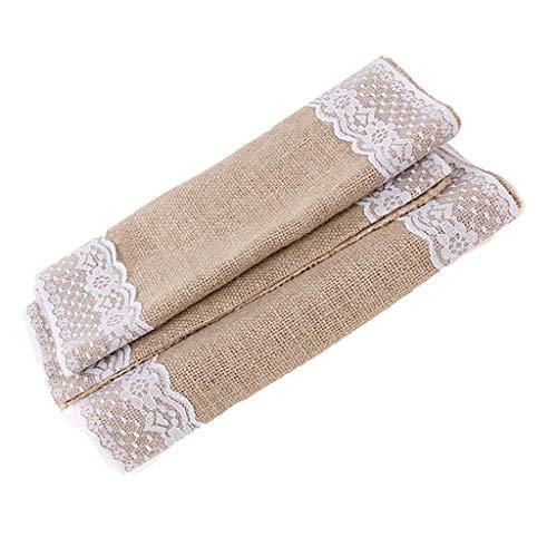 ZHAOHUIYING natuurlijke jute doek kant tafel vlag weven tafelkleed bruiloft tafel en stoel antieke decoratie