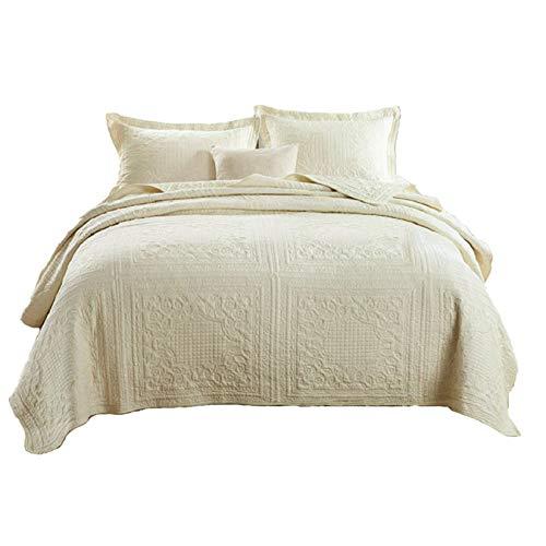 Unimall 4394285 gesteppt Tagesdecke Sommer Doppelbett Bettüberwurf Unifarbe mit schöner Karo-Steppung 250cm x 270cm inkl. 2 Kissenbezüge