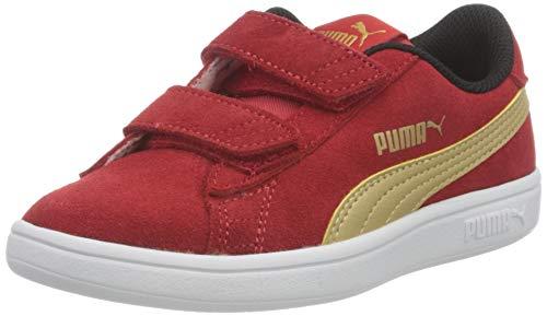 PUMA Smash v2 SD V PS, Zapatillas, Rojo (High Risk Red Team Gold Black), 31 EU