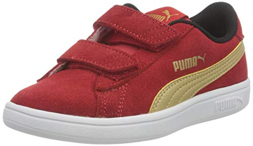 PUMA Smash v2 SD V PS, Zapatillas Unisex niños, High Risk Red Team Gold Black, 29 EU