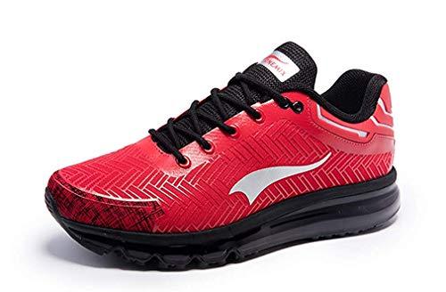 ONEMIX Herren Laufschuhe Trendige Arbeitsschuhe Sportlich Schutzschuhe Straßenlaufschuhe Sneaker für Freizeit Fitness 1192 Red Black 43