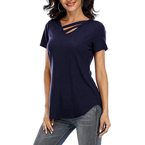 FOTBIMK Mujeres Verano Camisetas V-Cuello Color Sólido Manga Corta Casual Todo Partido Jersey Tops