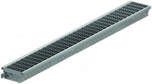 ACO Self® Highline 1m Stahl verzinkt + Maschenrost Stahl verzinkt 1m - frostbeständig - schraublose Rostarretierung