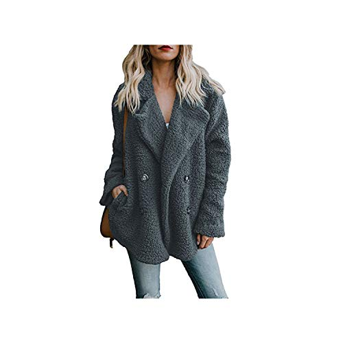 Women Jackets Winter Coat Cardigans Ladies Warm Jumper Fleece Faux Fur Hoodie Outwear Blouson Femme S 3XL Dark Grey