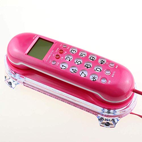 YUBIN Inicio Hotel Teléfono Montado Máquina Fija Máquina Fija Creativa Identificación de la Llamada Linda del Hotel Tamaño de extensión pequeña (L19.5cm * W6.5cm * H3.5cm) (Color: Rojo) Teléfono