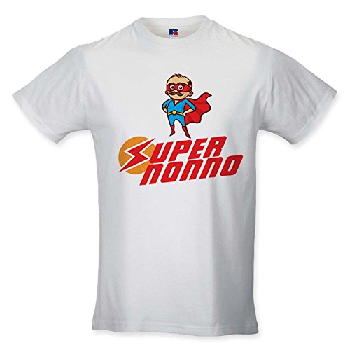 T Shirt Uomo Idea Regalo Festa dei Nonni Super Nonno Bianca M