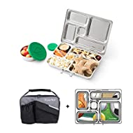 PlanetBox ROVER Eco-Friendly Stainless Steel Bento Lunch Box with 5 Compartments for Adults and Kids - Black Pearl Carry Bag with Sports Balls Magnets