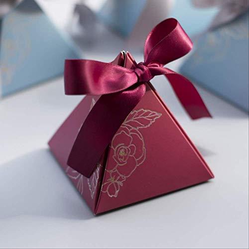 Geschenkdoos BLTLYX Driehoekige piramide Snoepdoos Trouwbedankjes en geschenkdozen Snoepzakken voor gasten Bruiloftsdecoratie Babyshower Feestartikelen 7,2 x 7,2 x 8 cm rood