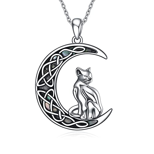 ONEFINITY Moon Cat Necklace Sterling Silver Abalone Shell Celtic Crescent Cat Pendant Jewelry for Women Men Gifts