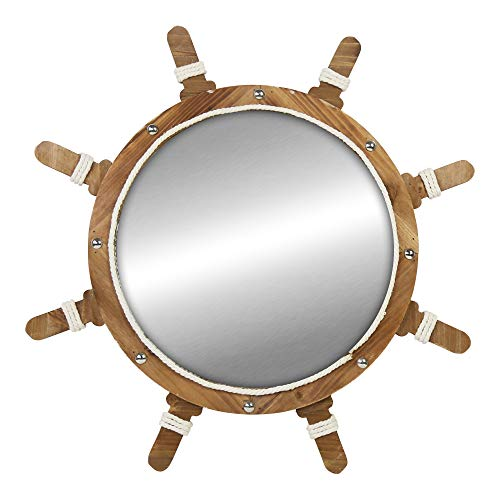 MOTLEY LANE Ship Wheel Wall Mirror - Nautical Themed Decorative Mirror for Kitchen, Living Room, Bathroom, Bedroom, Office - Fun Unique Wood & Metal Coastal House Decoration - Best Housewarming Gift