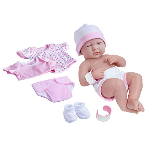 "La Newborn Nursery 8 Piece Layette Baby Doll Gift Set, featuring 14"" Life-Like Original Newborn Doll, Pink"