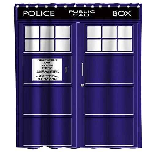 JOOCAR Design Duschvorhang, Doctor Who Tardis Police Box Thema, Marineblau, wasserdichter Stoff, Badezimmerdekor-Set mit Haken