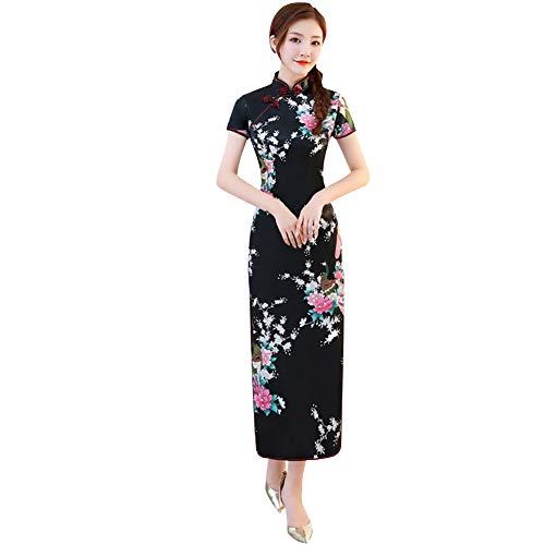 Janjunsi Vestido Chino Cheongsam Qipao para Mujer, Ropa Cheongsam de Manga Corta de Talla Grande, Noche Fiesta Chino Qipao Disfraz