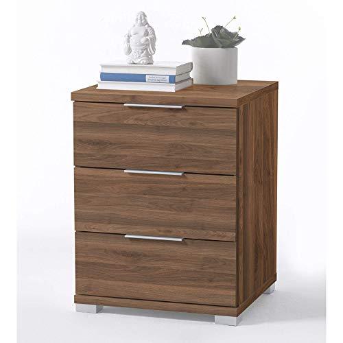 Universal Nachttisch in Columbia Nußbaum Optik - Moderner Nachtschrank mit drei Schubladen für Ihr Boxspringbett - 46 x 61 x 42 cm (B/H/T)