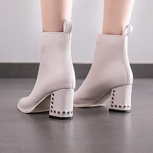 Shukun enkellaarsjes, sterke hiel-opladingen, zwarte vierkante kop dik met korte laarzen frontritsbare hak-opladingen plus SAMT-schoenen, herfst en winterpersoonlijkheid