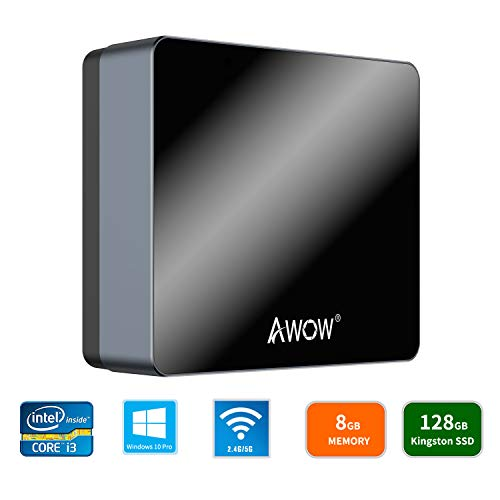 AWOW NYi3 Mini PC Intel Core i3 Windows 10 Pro Mini Computer(8GB DDR/128GB SSD/4K/Dual-Band Wi-Fi/Gigabit Ethernet/Dual HDMI/BT4.0)/Mini Desktop Computer