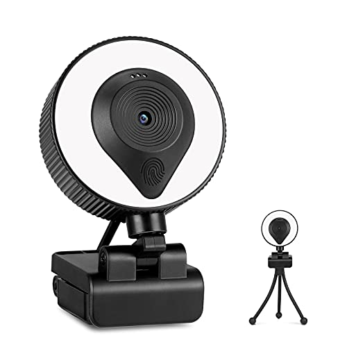 2NLF 2K Ultra HD Webcam with Microphone and 200% Brighter Ring Light, Advanced Autofocus, Gaming Web Camera with Tripod, 3-Level Brightness, Streaming Webcam for Zoom Skype YouTube Facebook