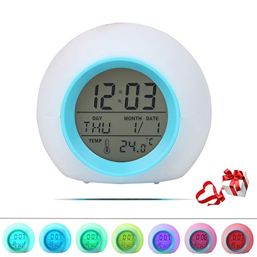 Kids Alarm Clock, Ulykal Digital Alarm Clock for kids, 7 Color Changing Night Light Alarm Clock for Boys Girls with Indoor Temperature Touch Control and Snooze Alarm Clock for Bedroom【Updated Version】