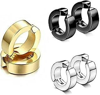 MEENAZ Stainless Steel Black Silver Gold Magnetic Clip on Non Piercing pressing Hoop Bali Stud Earrings Combo pack set Ear...