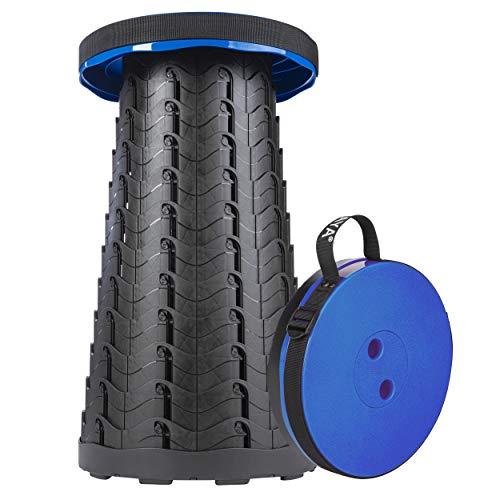 ONVAYA® Taburete Plegable Extensible | Taburete de Camping Plegable y de Altura Ajustable | Mini Taburete de Exterior | Taburete Plegable para niños y Adultos (Azul)