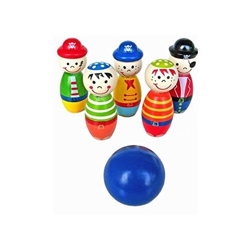 Kacniohen 1set 8 * 2.5cm Baby-Indoor Bowling Spielzeug-Set Aus Holz Bowling Set