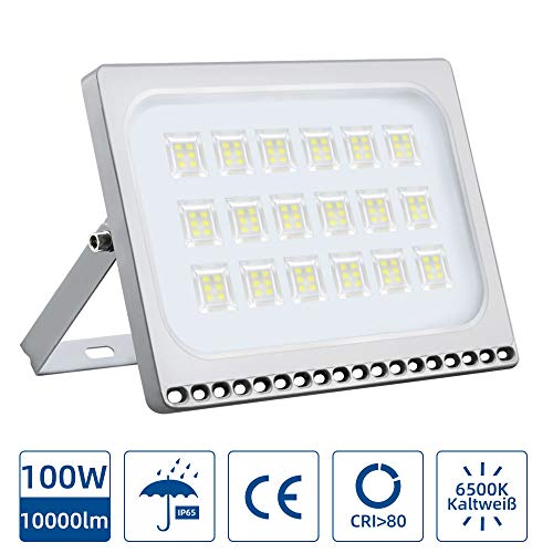 Focos LED Exterior 100W,6000K IP67 mpermeable Proyector Reflector de Pared/Iluminación Exterior (Cold White, 100W)