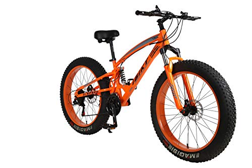 ibiky 26 inch Mountain Bike,Hybrid Fat Tire Snow Bicycle with 21 Speed and Suspension/Dual Disc Brake (Orange)