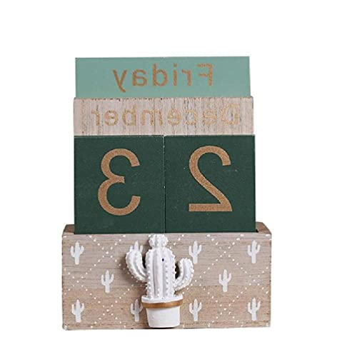 Calendario perpetuo de madera vintage Planificador de bloque eterno Accesorios de fotografía Mes Semana Fecha Pantalla Oficina en casa Decoración de escritorio Calendario de pared 2020-2021