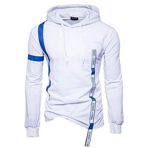 UJUNAOR Männer Hoodie Einfarbig Langarm Kapuzen T-Shirt Pullover Top Brief mit Kordelzug(Weiß,EU XL/CN 2XL)