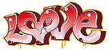 dekodino Wandtattoo Graffiti Love Schriftzug rot Wandsticker Dekoration