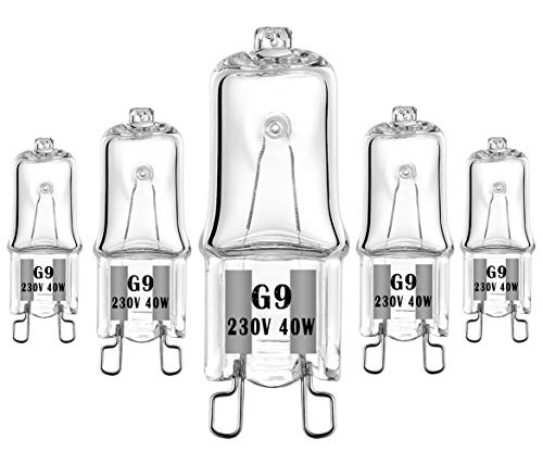 40W Especial Lámpara halógena G9 230V Para aplicaciones de horno y microondas 300℃ Bombillas resistentes al calor paquete de 5