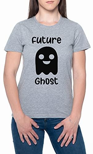 Future Ghost Gris Mujer Camiseta Mangas Cortas Tamaño XXL Womens T-Shirt Grey Size XXL