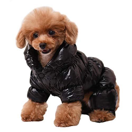 Lvguang Outdoor Winter Hund Gepolsterte Steppjacke Winddichtes Outfit Warmer Mantel Einfach An und Ausziehen (Schwarz, S)