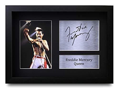 HWC Trading Freddie Mercury A4 Gerahmte Signiert Gedruckt Autogramme Bild Druck-Fotoanzeige Geschenk Für Queen Musik-Fans