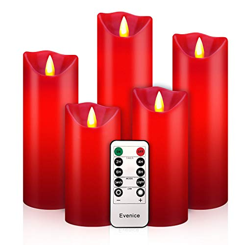Flameless LED Candles Flickering Pillar Candles Battery Operated Candles Unscented with Timer and Remote Set 5' 6' 7' 8' 9' Set of 5 Burgandy Wax Pillar LED Candles with 10-Key Silicone Remote