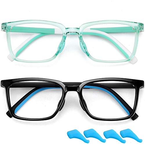 Óculos de bloqueio de luz azul para crianças para meninos e meninas inquebráveis TR para jogos de computador, filtro de raios azuis antifadiga ocular, armação de óculos falsos, pacote com 2, crianças de 4 a 12 anos (preto brilhante + verde)