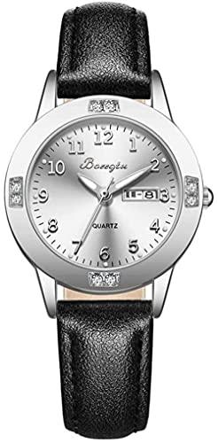 JZDH Reloj de Pulsera, 3ATM Reloj de Mujer multifunción de Calendario Luminoso a Prueba de Agua, Reloj de Mujer Simple y de Moda, Reloj de decoración de niña de Secundaria